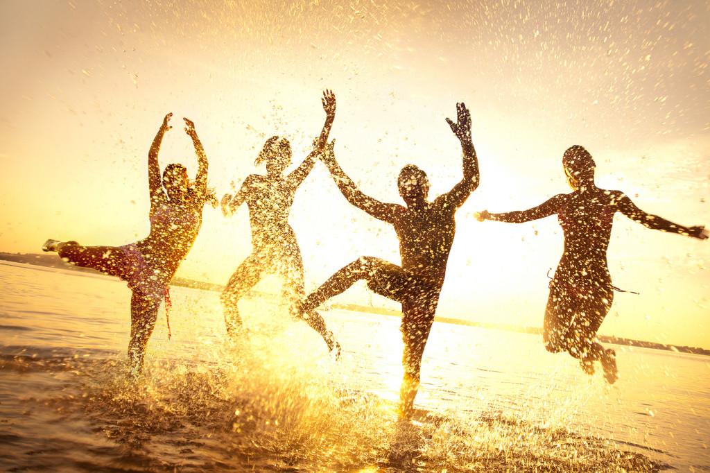 happy friends in summertime